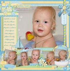 baby bath scrapbook layout