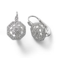 Octagonal Diamond Earrings, .30 Carat, 14K White Gold