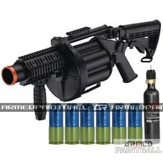 "Equip yourself with one these and you shall not fear a thousand battles. The MGL MK32 Revolver Launcher holds 6 grenade shells, each shell can hold 20 paintballs. Check out this product and many more at www.armedpaintbal... Also, check out and ""like"" our facebook page for free giveaways! Simply click on the search bar and type in ""Armed Paintball Inc"" for more information."