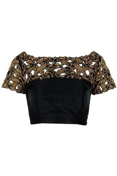 Black cut work blouse with beautiful zardosi handwork. by Sravams: