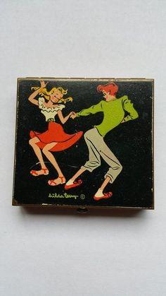 Hilda Terry powder compact Rex Teen Jitterbug Rockabilly 1940s