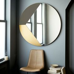 Geo Shapes Oversized Round Mirror, White + Brass at West Elm - Mirrors - Wall Decor - Home Decor Oversized Round Mirror, Spiegel Design, Circular Mirror, Floor Mirror, Metal Mirror, Mirror Mirror, Wall Design, Modern Mirror Design, Modern Mirrors