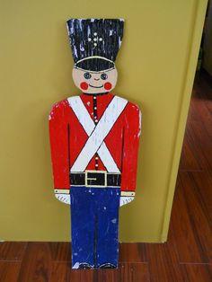 36.5in tall Fab next to front door or indoor Christmas tree!!! PRIMITIVE FOLK ART XMAS TIN SOLDIER WOODEN FIGURE #Americana
