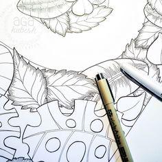 Bardzo pracowity weekend przede mną, będzie się rysowało :) Dziecko na szczęście śpi, więc do dzieła ;) #agakubish #draw #doodle #graphic #micron #ink #lines #art #artwork #colorbook #kolorowanka #sketch #agakubish #illustration #leaves #monstera #botanic #floral #nature