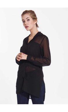 Camicia Lunga donna nera con Spacco sui fianchi - Fashiongriffe f087b17c5bd2