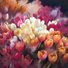 Cream and pink Tulips, beautiful Tulips by Nel Whatmore - Loving It All