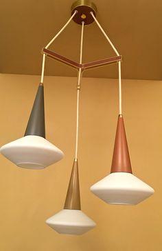 Vintage Lighting mid century modern pendant by Lightolier Ceiling Canopy, Ceiling Lights, Walnut Veneer, Vintage Lighting, Glass Shades, Mid-century Modern, Mid Century, Bulb, Pendant