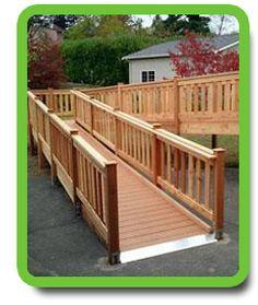 Attractive wheelchair ramp to the deck. I need to check the codes, but I think we have to have railing on both sides of the ramp. Handicap Ramps, Handicap Accessible Home, Ramp Design, Deck Design, Porch With Ramp, Wooden Ramp, Wheelchair Ramp, Home Porch, Decks And Porches