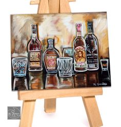 """Kentucky Bourbon/ Whiskey Drinking Art For Mens Gift by New Orleans Artist, MC Romaguera - Includes 16"""" by 20""""   White Matte with Print"""