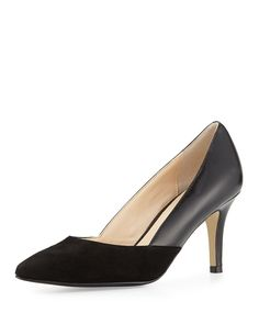 Cole Haan Kyle Suede/Leather Pointed-Toe Pump, Black, Women's, Size: 6 1/2, Black/Blac
