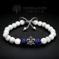 MEns Bracelet, 8mm White Howlite , Blue Jasper , Fleur De Lis Figure , Adjustable Mens Bracelet, Gemstone Bracelet, Royal, Unisex by JUNIPERANDELOISE on Etsy