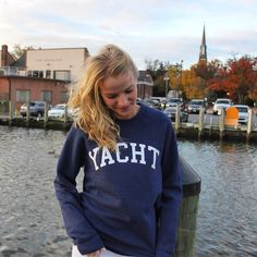 """Yale & kale are so 2016  Have """"yachts"""" of fun in our new cozy sweatshirt!"""