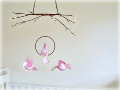 Spring love birds and cherry blossoms mobile  by Lullaby Mobiles