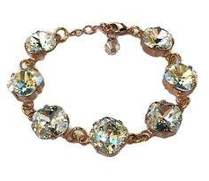 New Swarovski Large Square Crystal Clear Moonlight Rose Gold Bracelet (Cushion Cut 12mm) by HisJewelsCreations on Etsy
