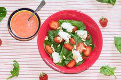 Vegetarischer Sommersalat - Spinat, Erdbeeren und Ziegenkäse Spinach, Strawberries, Summer Time, Fruit