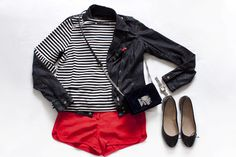 Outfit inspiration: 1 pair of shorts, 3 outfits - striped shirt, waxed jacket, red shorts, ballerina flats and velvet chain bag - teetharejade.com