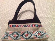 Sac City zip-zip  cousu par Murielle - tissu style amérindien et suédine - patron sac compartimenté Sacôtin
