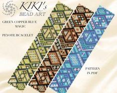 Peyote Pattern for bracelet - Green copper blue magic peyote pattern for bracelet in PDF - 3 versions - instant download