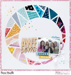 http://myshinystudio.blogspot.hu/2017/08/colorful-day-cocoa-vanilla-studio.html  Awesome layout and great way to use up small scraps #babyscrapbooks
