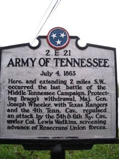 Army of Tennessee Marker. Click for full size.