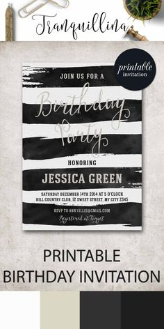 Birthday Invitation Printable, Watercolor Stripes Black White Birthday Invite, Adult Birthday Party Invite - pinned by pin4etsy.com