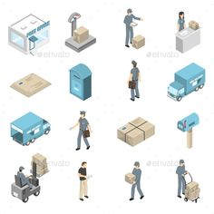 Post Office Service Isometric Icons Set by macrovector Post office service isometric icons collection with parcels packages and letters transportation and delivery isolated vector illus