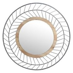 Bent metal wire forms a timeless herringbone motif in the design of the Privilege International Round Herringbone Metal Wall Mirror - 30 diam. Round Wall Mirror, Wood Mirror, Wall Mounted Mirror, Round Mirrors, Wood Wall, Farmhouse Style Kitchen, Modern Farmhouse Style, Contemporary Wall Mirrors, Natural Wood Finish