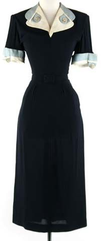 40s blue rayon wiggle rhinestone cocktail dress