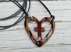 Wooden Heart Pendant  Zebrawood Ebony & Bloodwood by TheLotusShop, $19.95