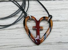 Wooden Heart Pendant  Zebrawood Ebony & Bloodwood by TheLotusShop, $19.95