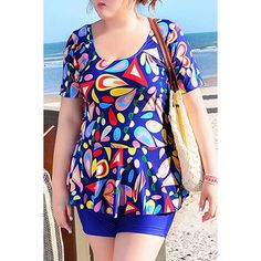 18.19$  Watch here - http://dicbq.justgood.pw/go.php?t=170958315 - Sweet Women's U-Neck Geometrical Print Short Sleeve Swimsuit 18.19$