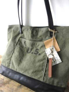 ace7e0585749 US MILITARY BAG Tote Leather   Canvas Large Carry by TnBCdesigns Grain  Sack