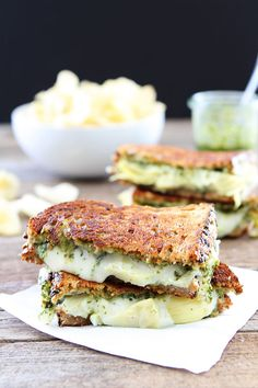 Pesto, Artichoke, and Havarti Grilled Cheese Recipe on twopeasandtheirpod.com This simple grilled cheese is loaded with flavor. A MUST make!