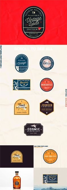 Free #Vintage #Label #Template Kit includes 7 Editable Vintage Logo Templates coming from Roman Paslavskiy. The labels are vector format which means that you may scale logos without losing sharpness. You can use these labels for any branding projects, soc