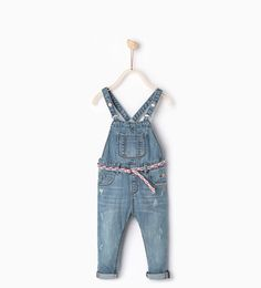 Image 1 of Belted denim dungarees from Zara