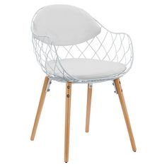 Perfect pulled up to your dining table or writing desk, this stylish arm chair features a netted design and cushioned seat.   Produc...