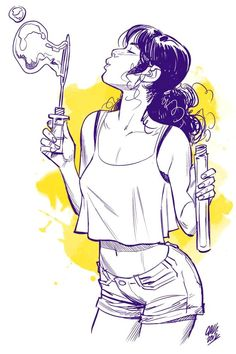 Cameron Stewart illustration of a girl blowing bubbles. Illustration Sketches, Character Illustration, Art Sketches, Art Drawings, Character Design References, Character Art, Illustrator, Arte Sketchbook, Poses References