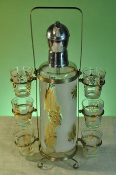 Gold Leaf Decanter and Shot Glass Set with Carrier Vintage Barware