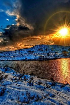 Beautiful sunset on a snowy scene.