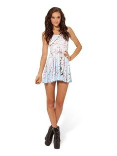 Celeb Inspired Digital Print Cherry Blossom Scoop Skater Sun Dress Clubwear