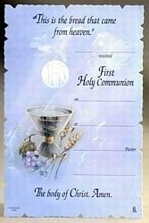 First Communion Certificates Supplies