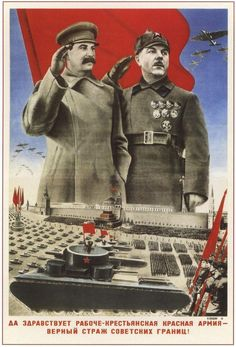 Joseph Stalin and Kliment Voroshilov depicted saluting a military parade in Red Square