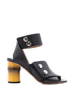 Acne Studios Mid Heel  Pica Black/Yellow Sandals