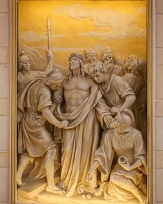 Stations of the Cross, St. Designed, painted and detailed by Rohn & Associates Design. Hail Holy Queen, Jesus Clothes, Jesus Christ Images, Jesus On The Cross, Jesus Is Lord, John Vianney, Sacred Art, Mural Art, Christian Art