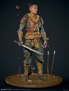 ArtStation - Sergei Kotenko's submission on Feudal Japan: The Shogunate - Game Character Art (real-time) Samurai Armor, Samurai Jack, Medieval Knight, Medieval Armor, Game Character, Character Design References, Marvel Tribute, Samurai Drawing, Buildings Artwork