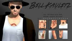 Sims 4 CC's - The Best: Bill Kaulitz Tattoos by Overkillsimmer