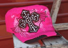Large Patch Cross with Wings Cap - Pink
