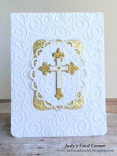 Hello, friends!  I'm stopping by to share three cards I recently made (for two First Communions and a Baptism) using Spellbinders cross dies...