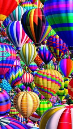 "White Mountain's ""Hot Air Balloons"", a 1000 piece jigsaw puzzle. Art by Royce McClure; So many colorful stripes and zigzags; hundreds of flashy hot air balloons taking off at once! Air Ballon, Hot Air Balloon, World Of Color, Color Of Life, Over The Rainbow, Belle Photo, All The Colors, Bright Colors, Happy Colors"