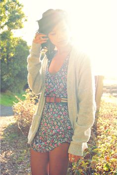 cardigan + the floral piece.